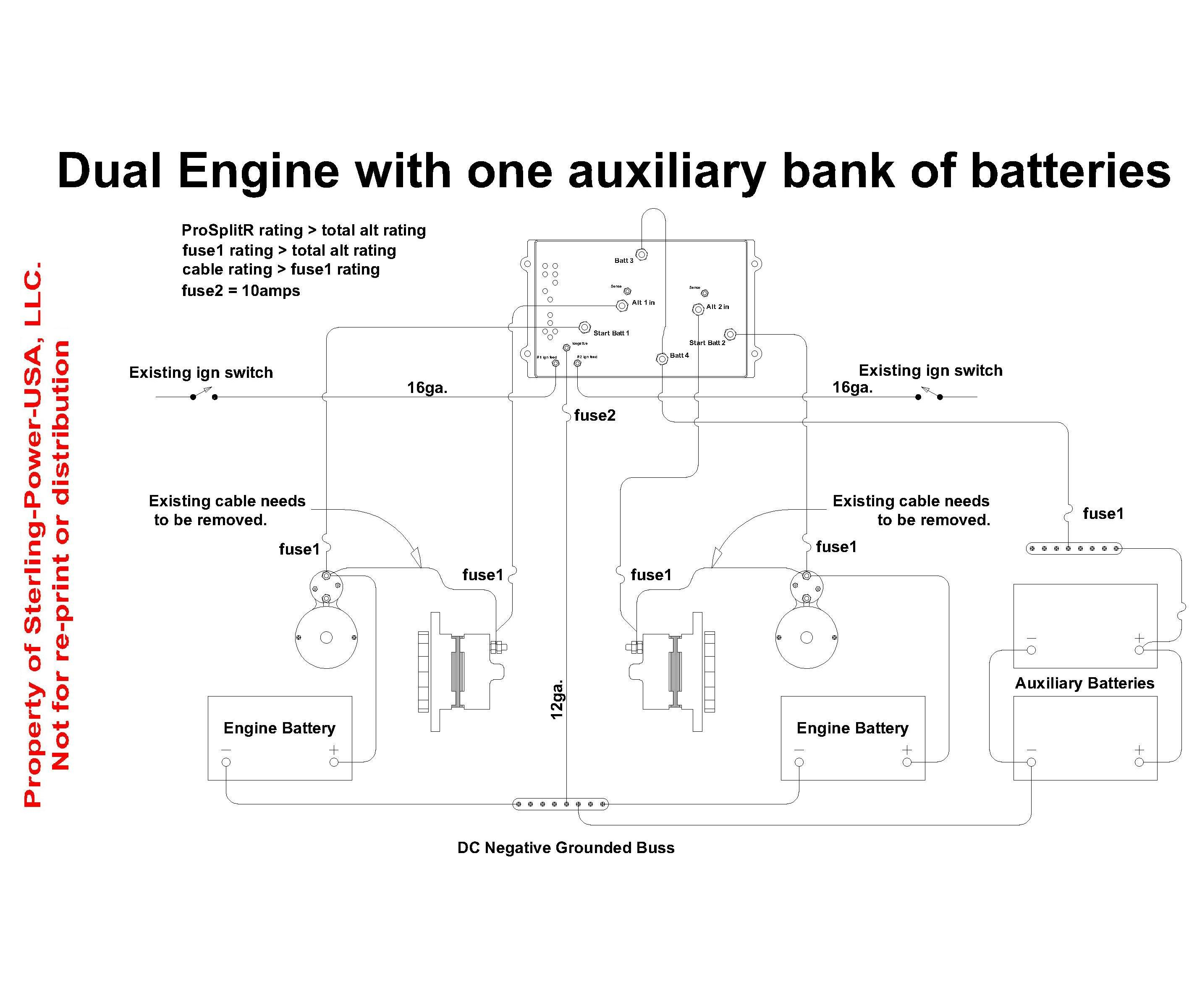 wiring diagrams \u0026 literature for pro charge ultra marine battery 30 Amp Breaker Wiring Diagram wiring diagram for a sterling power prosplit r zero drop marine battery isolator with 2 input and 4 outputs